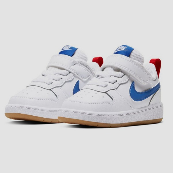 NIKE COURT BOROUGH LOW 2 SNEAKERS WIT/BLAUW KINDEREN