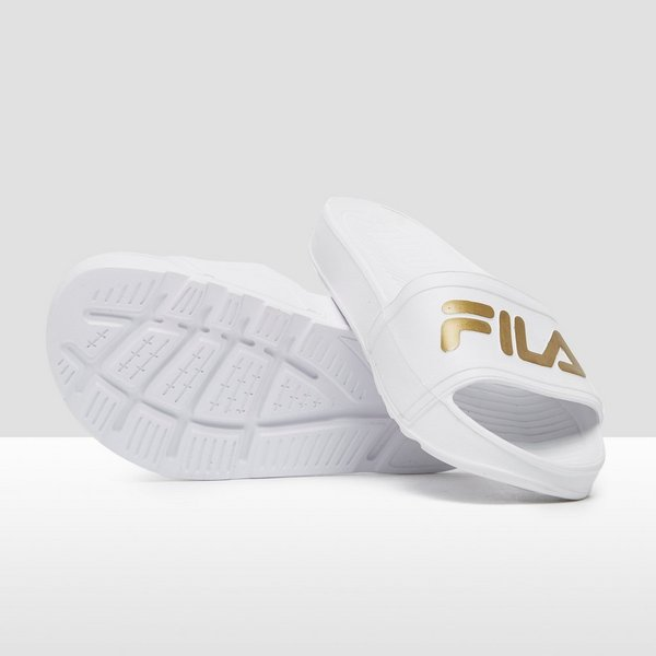 FILA SLEEK SLIDE SLIPPERS WIT/GOUD DAMES