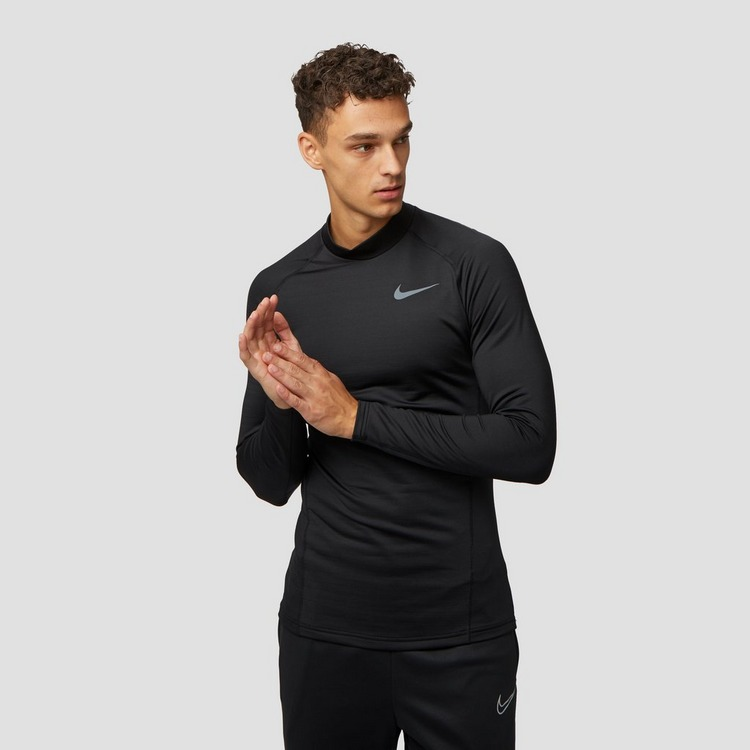 NIKE THERMA MOCK THERMOSHIRT ZWART HEREN