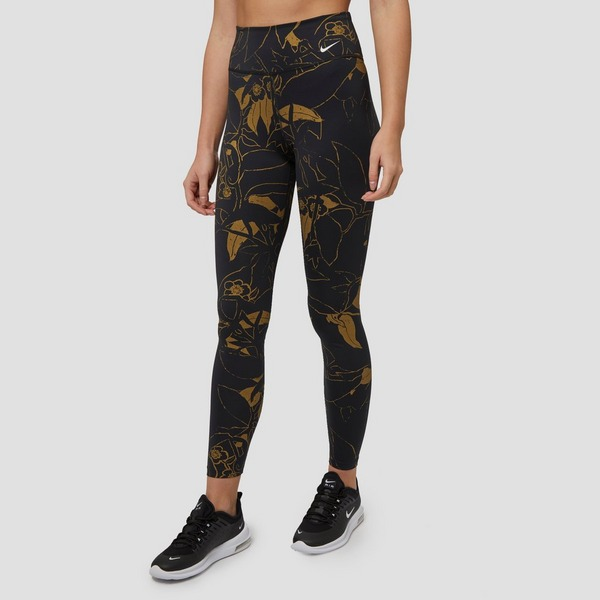 NIKE ONE SPORTTIGHT ZWART/GOUD DAMES