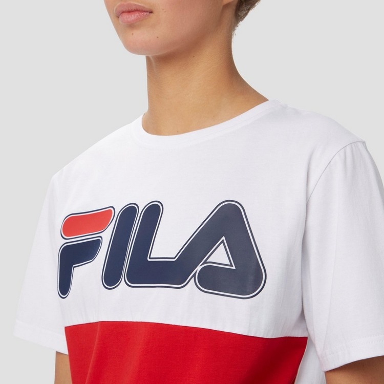 FILA CARO COLORBLOCK SHIRT WIT/ROOD DAMES