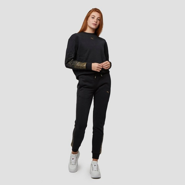 PUMA HOLIDAY CROPPED CREW SWEATER ZWART DAMES