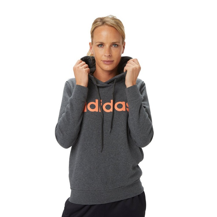 ADIDAS ESSENTIALS LINEAR OH FLEECE TRUI GRIJS/ORANJE DAMES