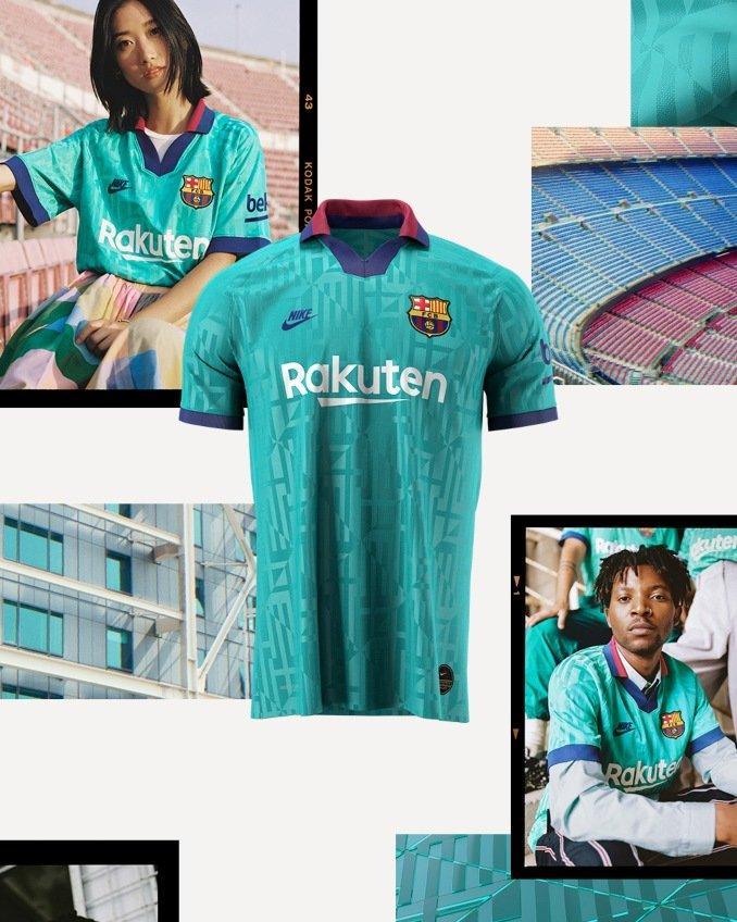 Muestra de la camiseta de la tercera equipación 2019-2020 del Barça
