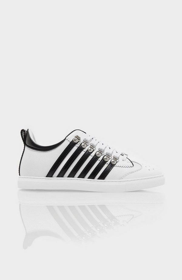 Multi Stripe Side Leather Trainer - White