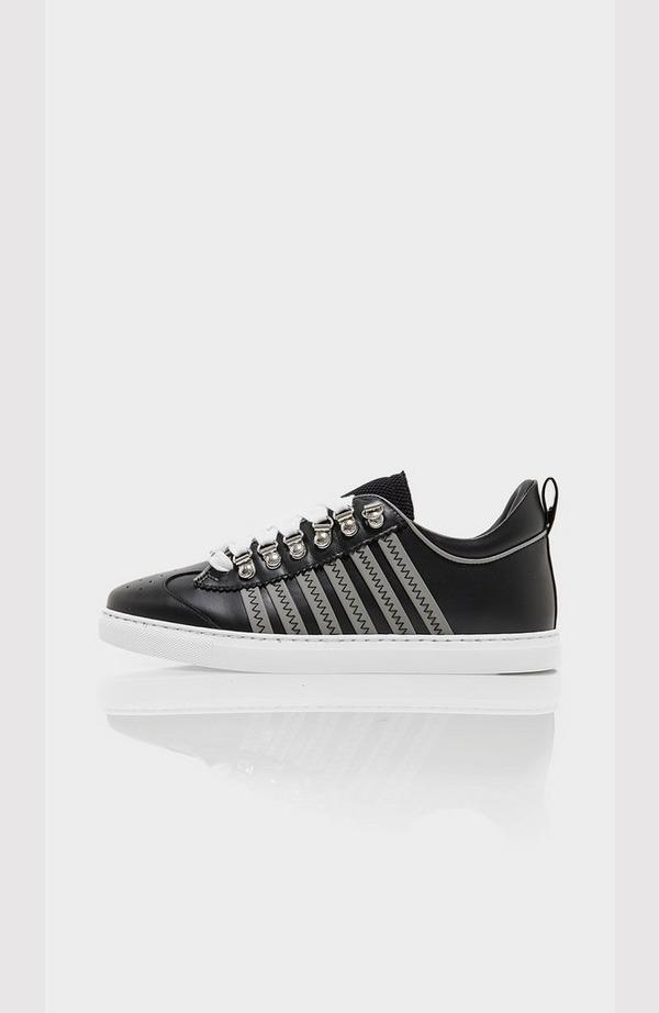 Multi Stripe Side Leather Trainer - Grey