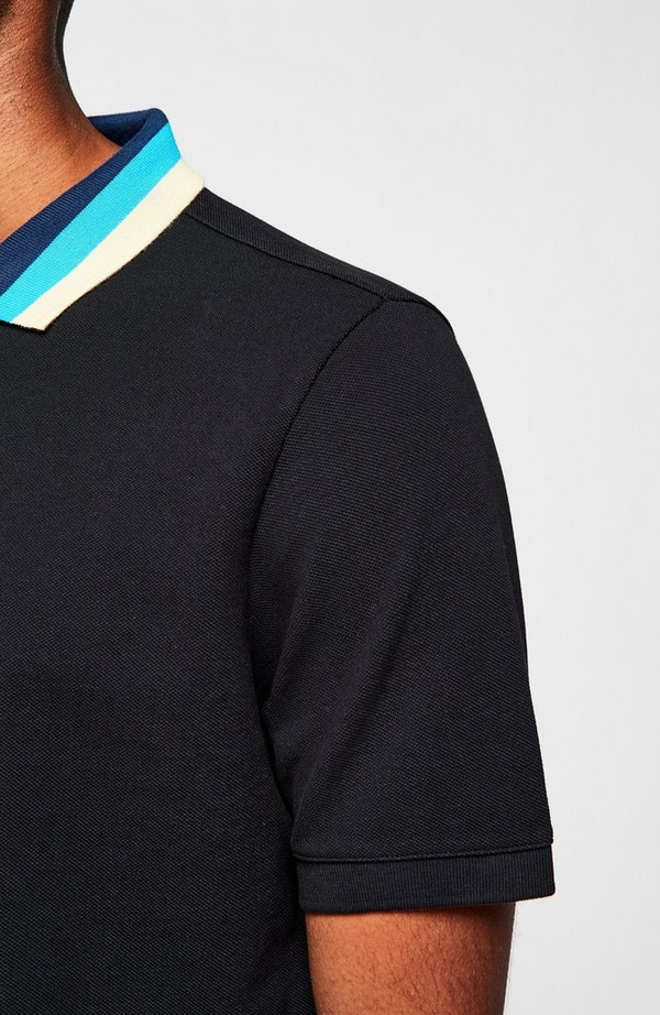 Stripe Collar Short Sleeve Polo