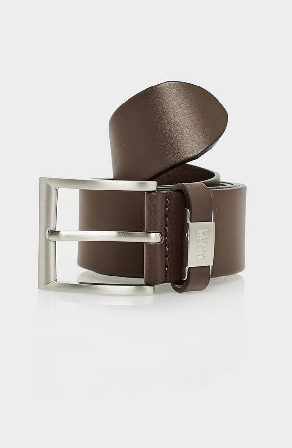 Metal Logo Leather Belt
