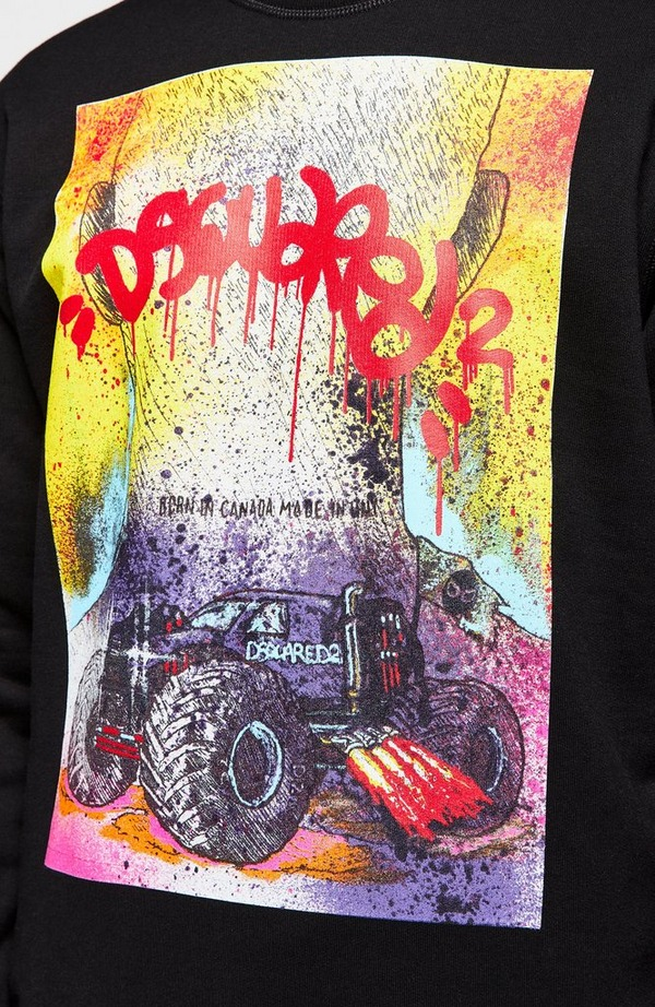 Grafitti Print Crew Neck Sweatshirt