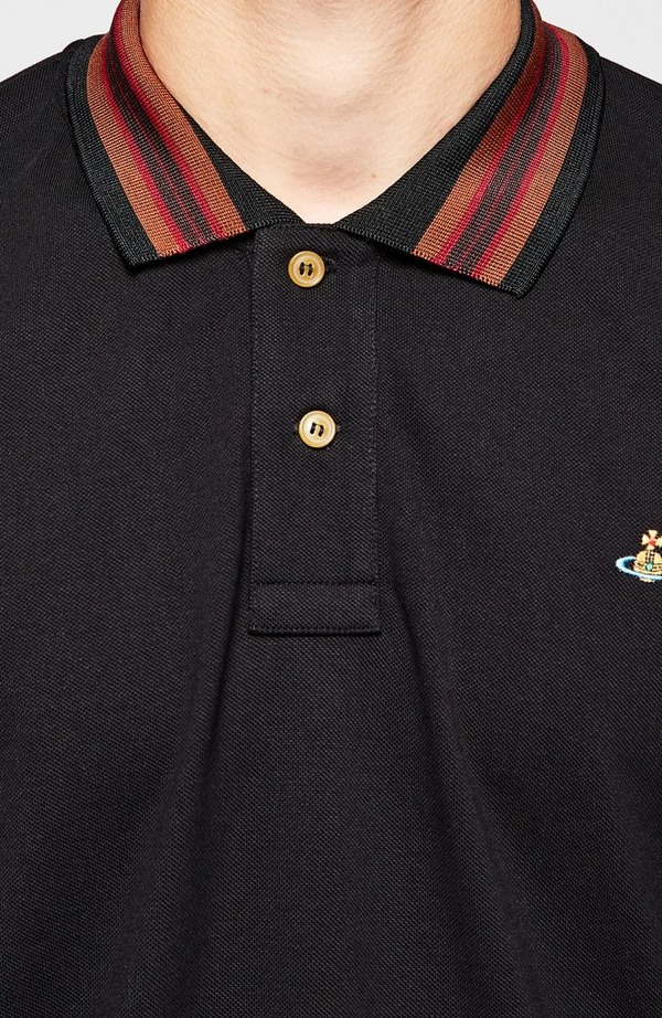 Classic Stripe Collar Long Sleeve Polo