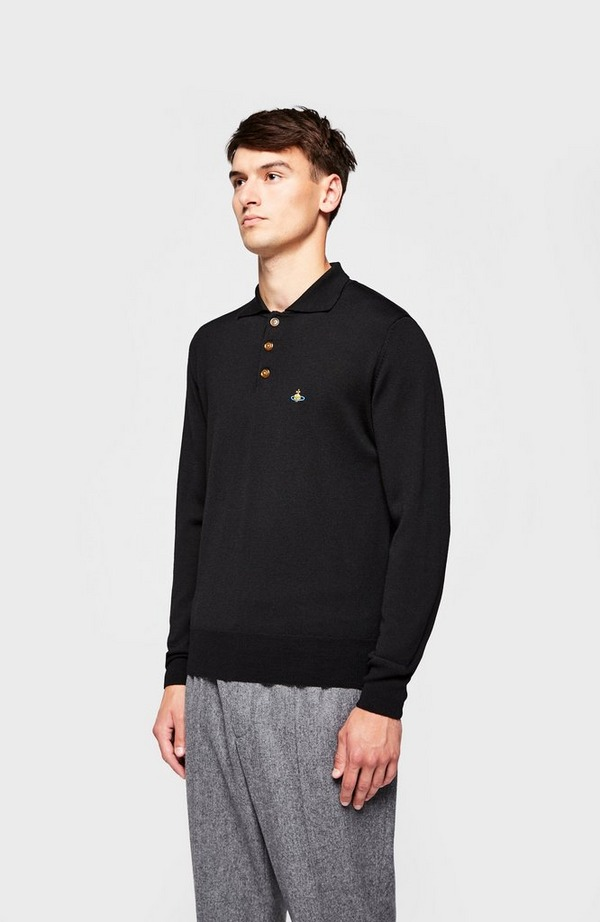 Chest Orb Long Sleeve Knitted Polo