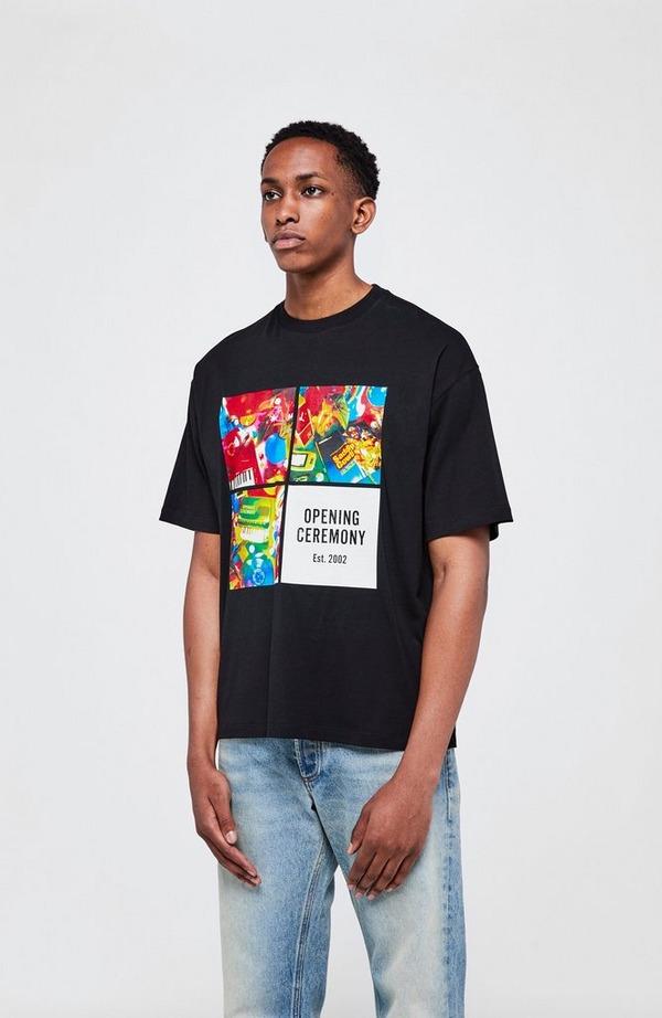 4 Boxes Print Short Sleeve T-Shirt
