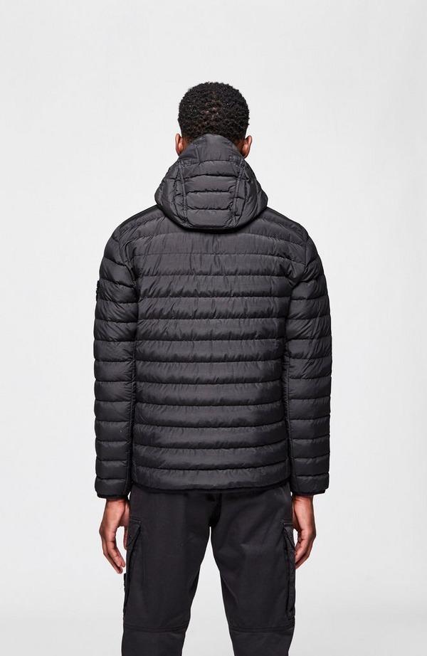 Badge Arm Nylon Tela Hooded Jacket