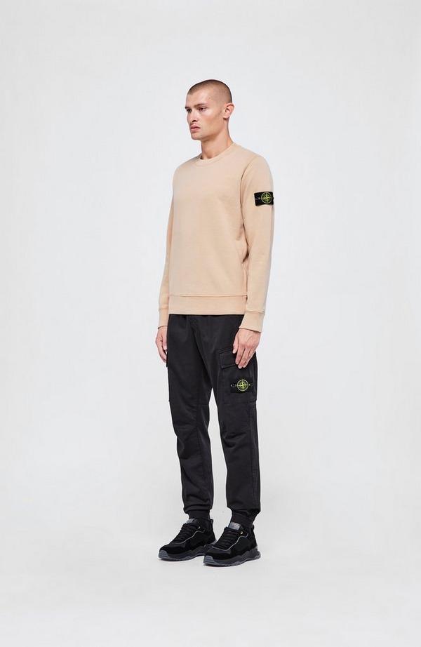 Badge Arm Garment Dyed Crewneck Sweatshirt