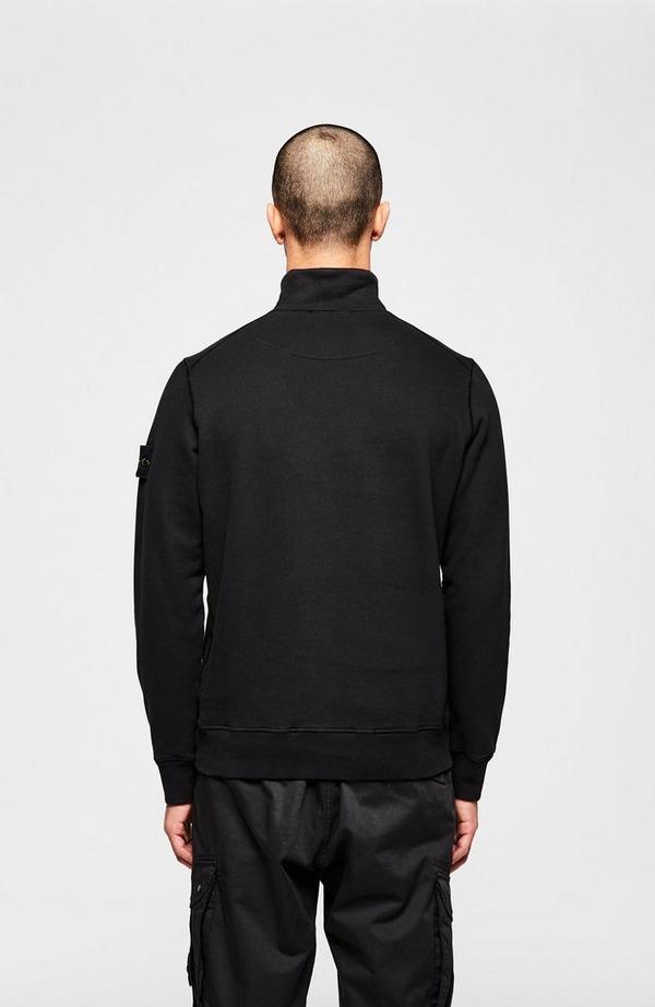 Badge Arm Garment Dyed Half Zip Sweatshirt