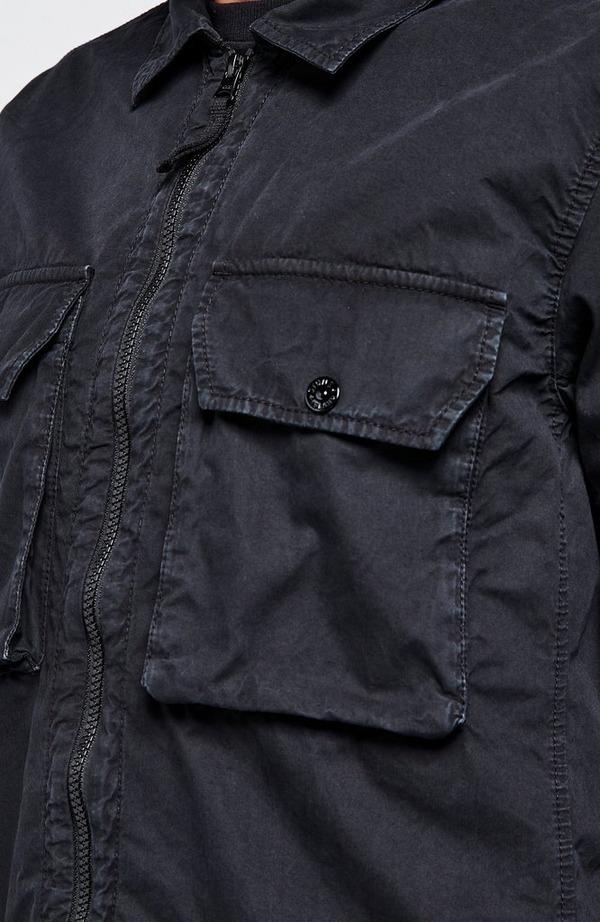 Badge Arm Garment Dyed Overshirt
