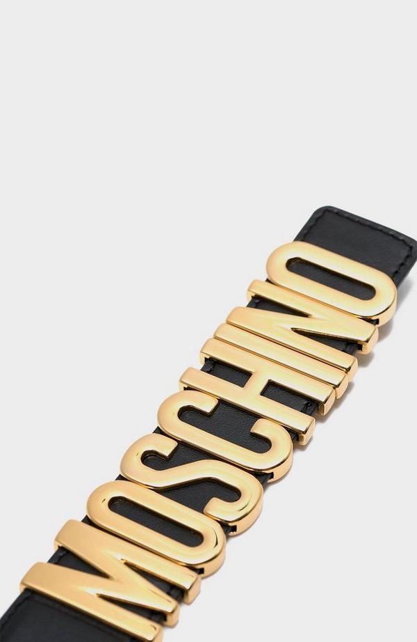 Calf Leather Metal Logo Belt