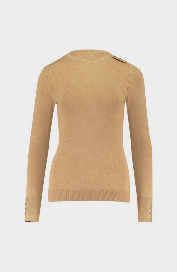Buttoned Crew Neck Knitted Jumper