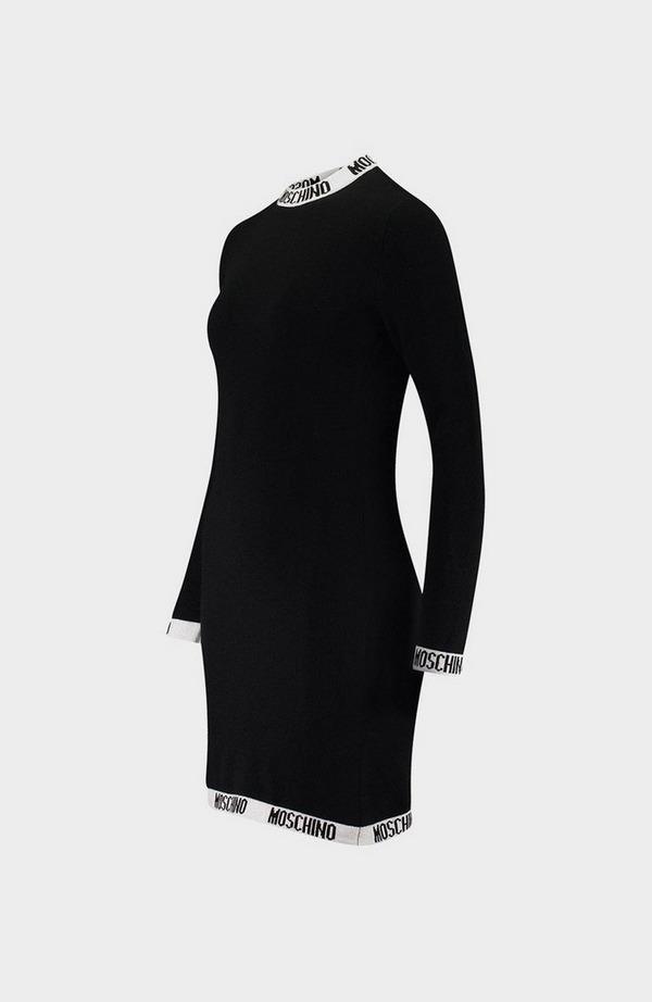Logo Trim Long Sleeve Dress