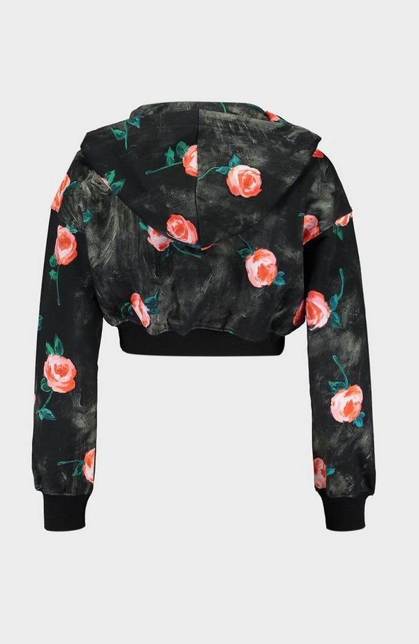 Floral Cropped Zip Up Hoodie