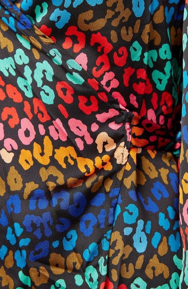 Multi Leopard Wrap Top