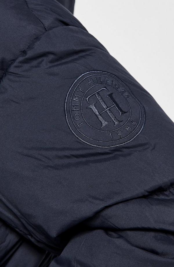 Round Logo Nylon Down Puffer Jacket