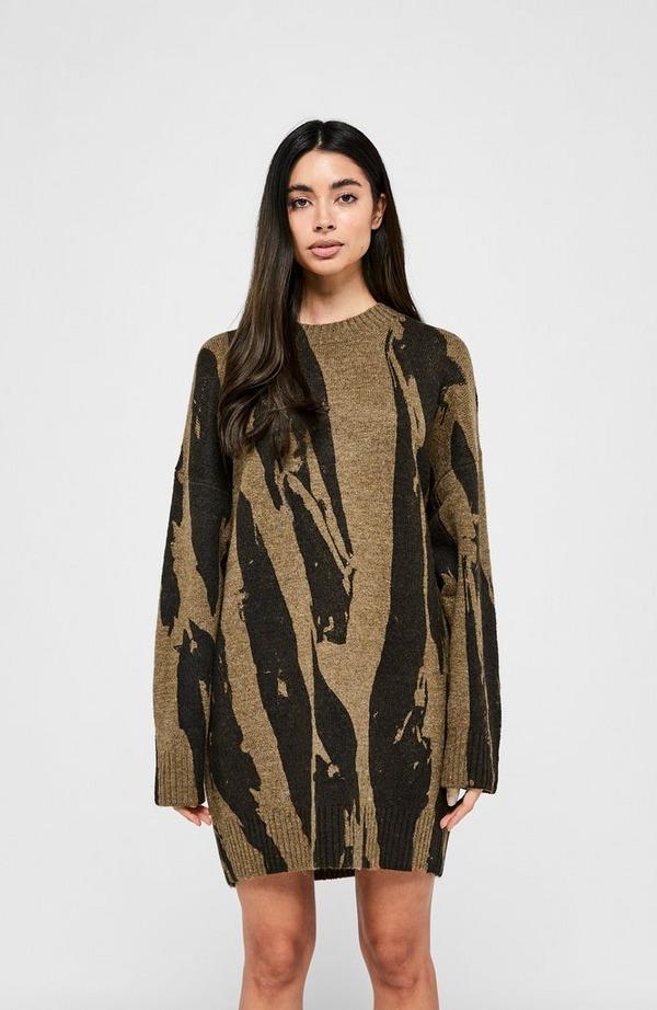 Pleated Camo Sweatshirt Dress