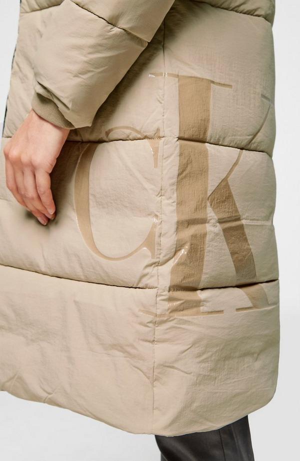 Side Logo Long Puffer Jacket
