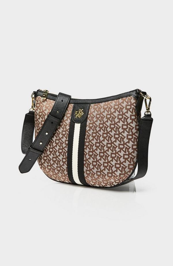 Carol Jacquard Logo Saddle Crossbody Bag