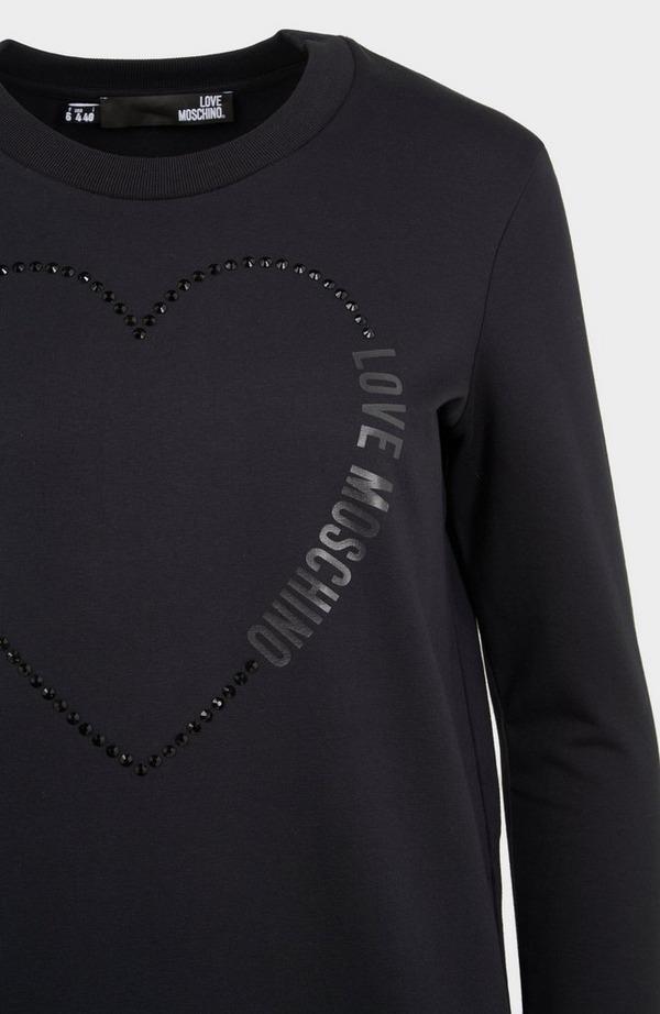 Heart Crystals Long Sleeve Dress