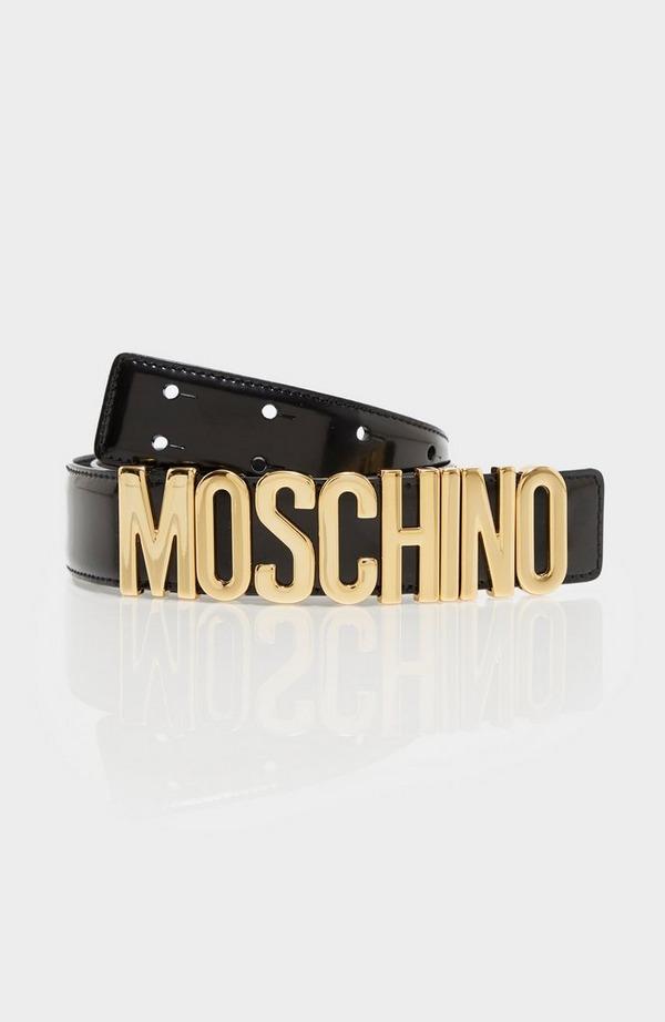 Brushed Leather Logo Belt