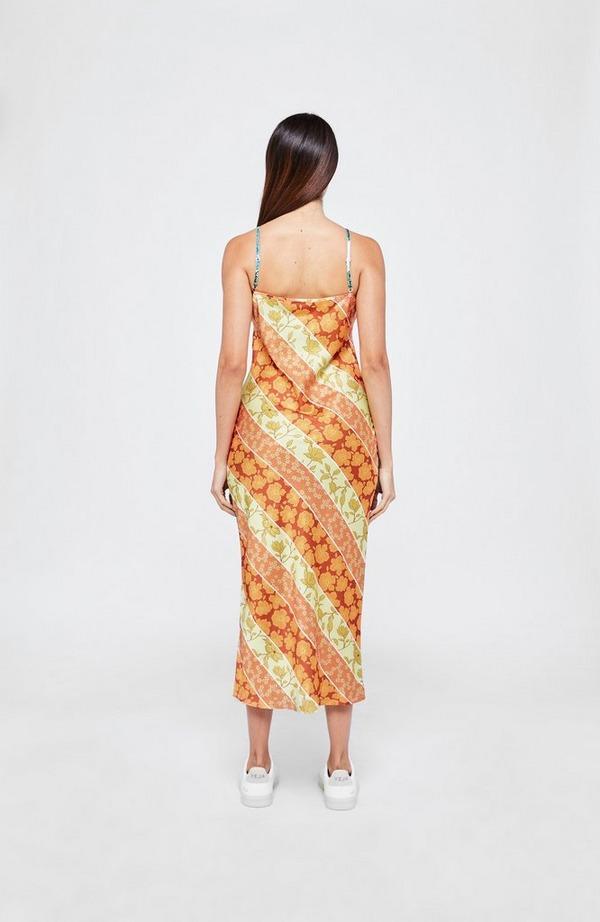 Patti Orange Print Clash Dress