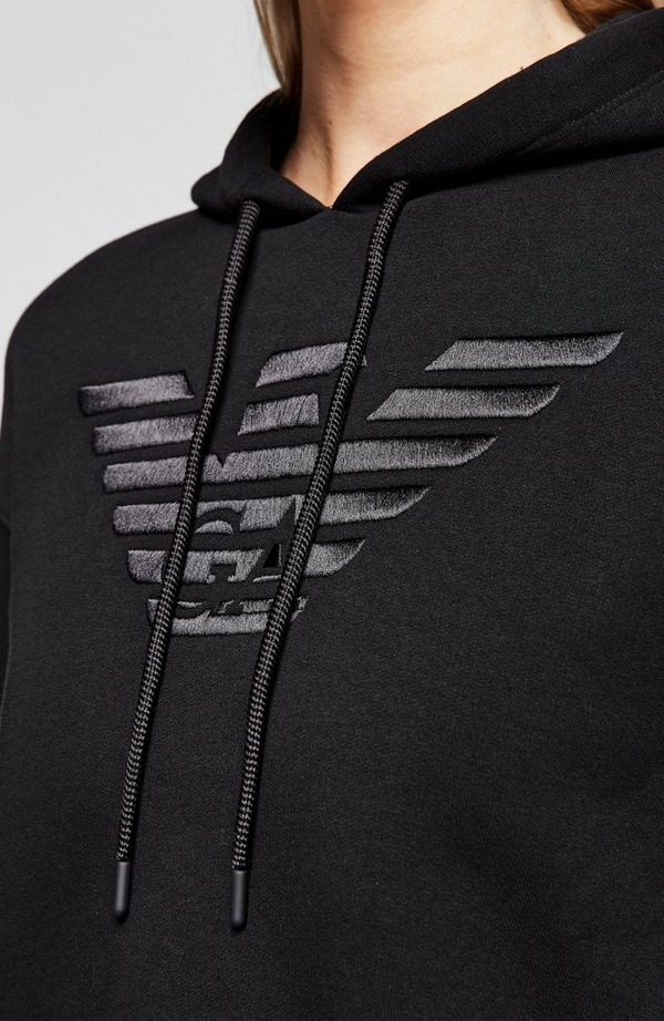 Chest Eagle Ruched Back Hoodie