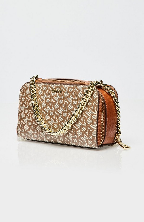 Felicia T&C Logo Double Zip Crossbody Bag