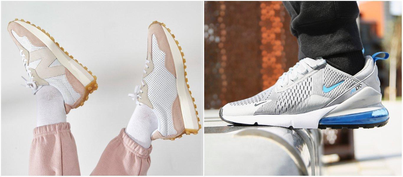 vita New Balance 327 med rosa color block-detaljer på person med vita strumpor och rosa träningsbyxor, samt gråa Nike Air Max 270 med blåa color block-kontraster på person med svarta strumpor och svarta träningsbyxor i utomhusmiljö