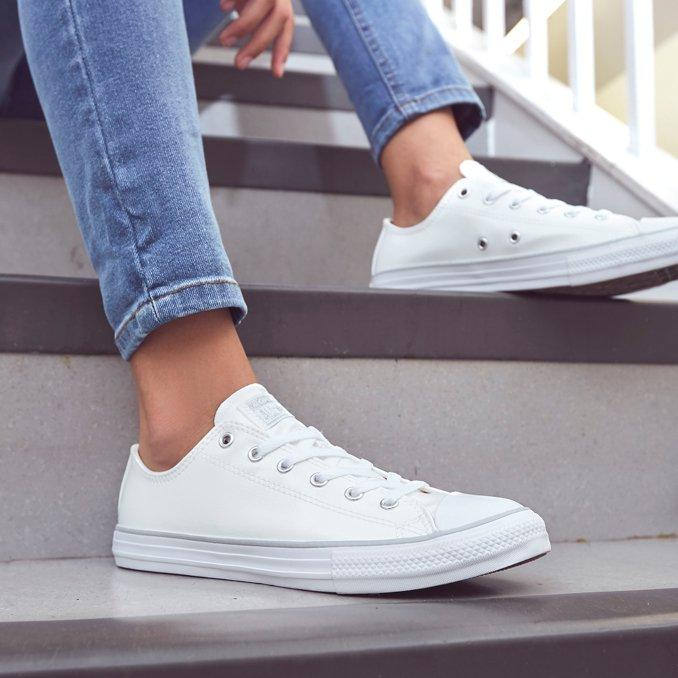 BRANCAS CONVERSE ALL STAR LEATHER OX