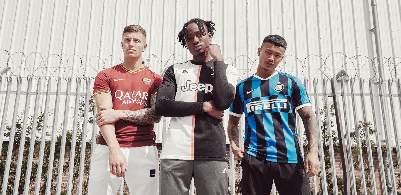 Equipaciones del AS Roma, Juventus e Inter Milán