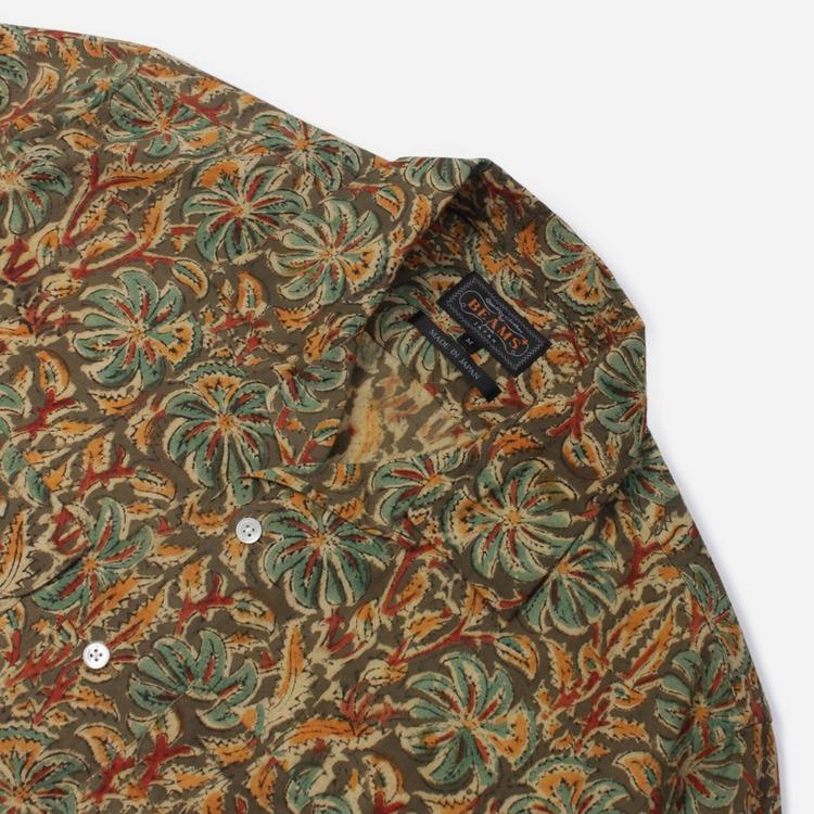 Beams Plus Batik Print Open Collar Short Sleeve Shirt
