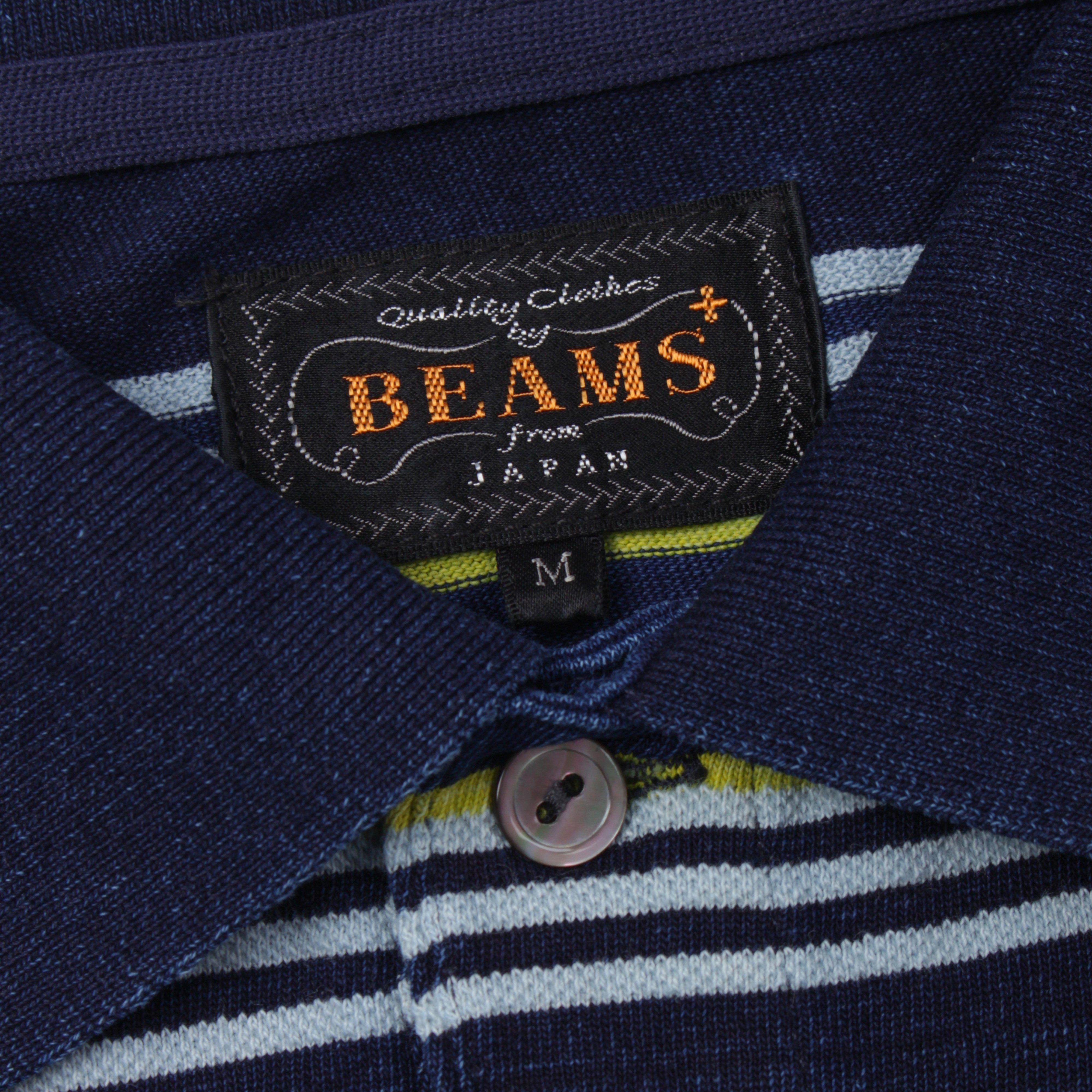 Beams Plus 1102 0338 156 POLO INDIGO BORDER
