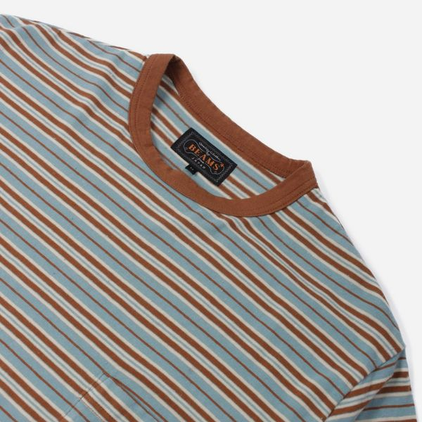 617aab23e3f Beams Plus Nep Border Stripe Pocket T-Shirt | The Hip Store
