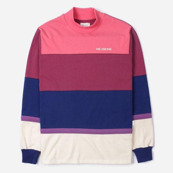 Aime Leon Dore Mock Neck Stripe Long Sleeve T-Shirt