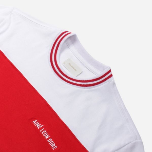 Aime Leon Dore Striped Ribbed Collar T-Shirt