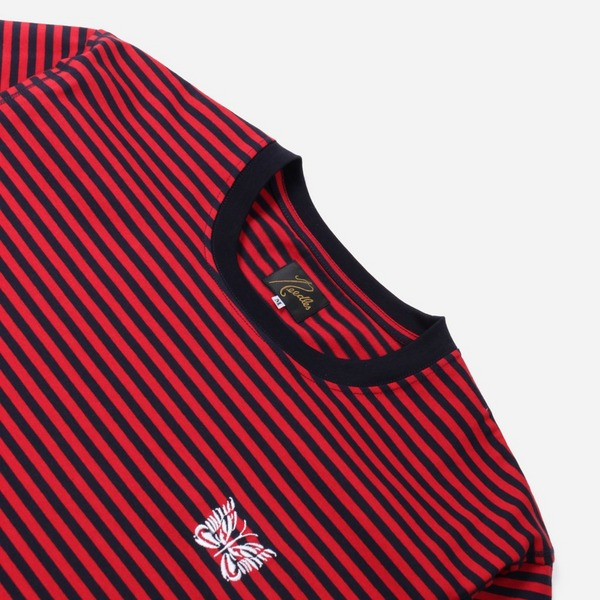 Needles Papallion Embroidered Stripe T-Shirt