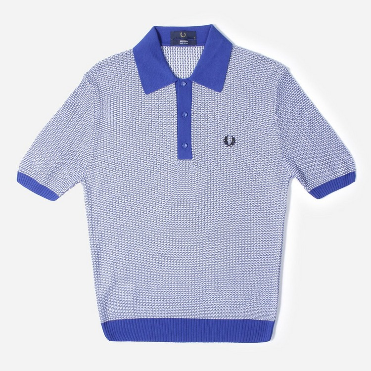 Fred Perry Two Colour Textured Knit Polo Shirt