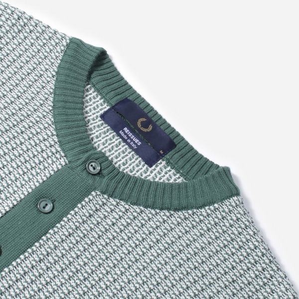 Fred Perry Two Colour Texture Knit Button Down