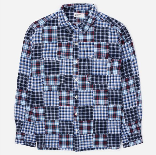 Universal Works Brushed Patchwork Garage Long Sleeve Shirt