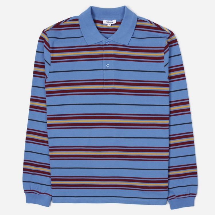 Tres Bien Stripe Pique Long Sleeve Polo Shirt