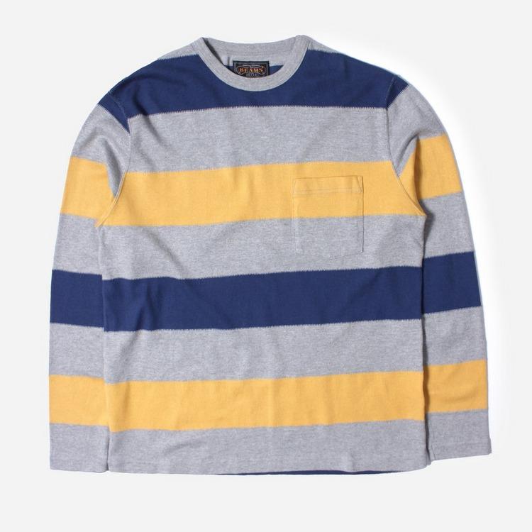 Beams Plus Wide Border Long Sleeved Pocket T-Shirt