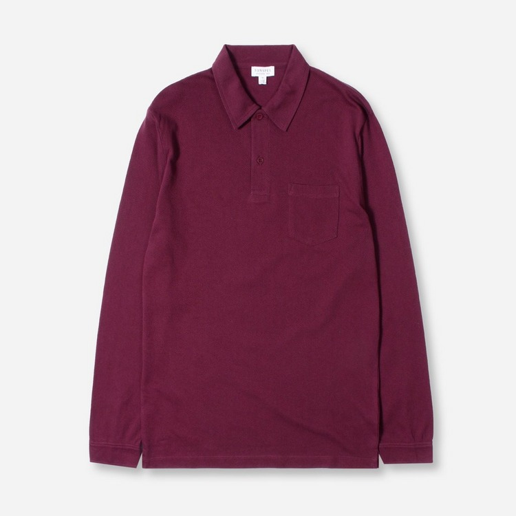 Sunspel Long Sleeved Riviera Polo Shirt