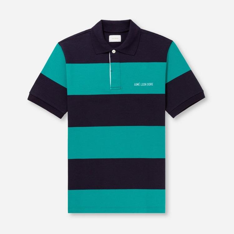 Aime Leon Dore Striped Pique Polo Shirt